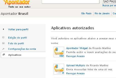 Tela de aplicativos autorizados do apontador